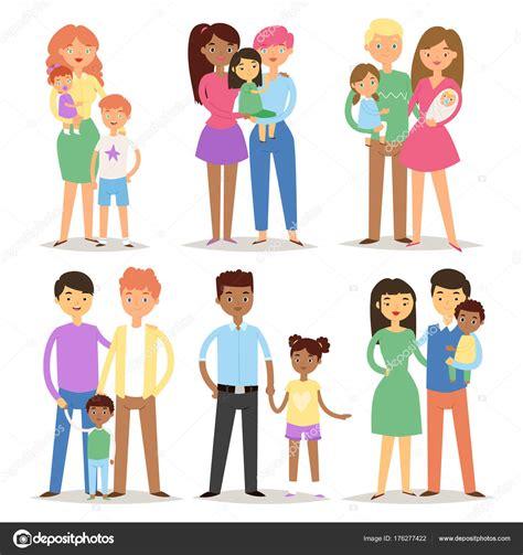 Mutlu farklı aile çiftler karakterler anne baba bebek çok ...
