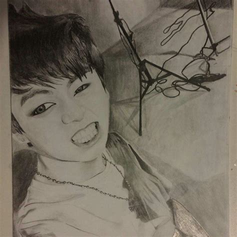 My drawing of Jungkook from Bts taking a selfie | Art Amino