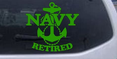 Navy Retired With Anchor Car or Truck Window Laptop Decal ...