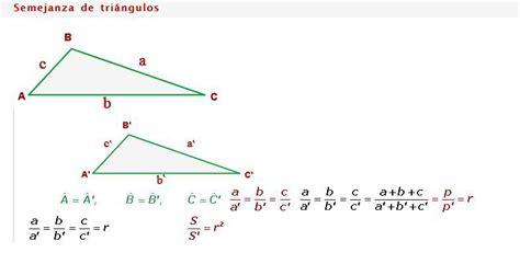 Necesito las fórmulas de semejanza de triángulos   Brainly.lat