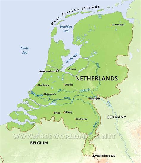 Nederland fysische kaart   Fysische kaart van Nederland ...
