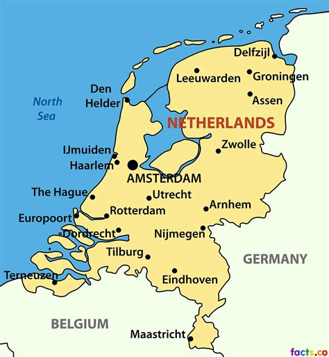 Netherlands city map   Map of Netherlands cities  Western ...