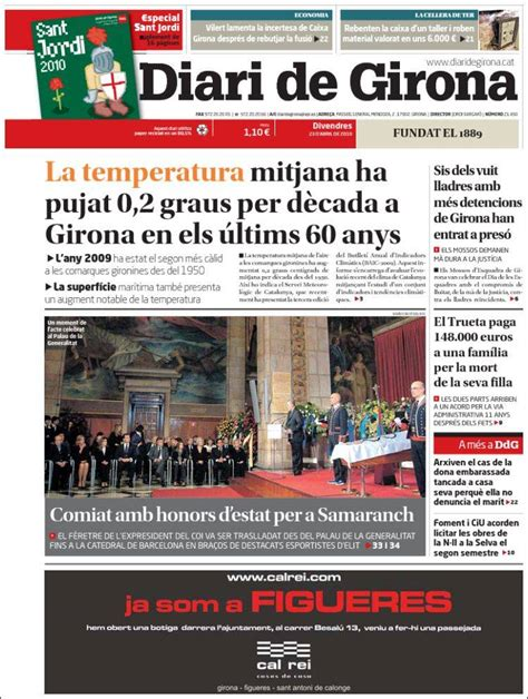 Newspaper Diari de Girona  Spain . Newspapers in Spain ...