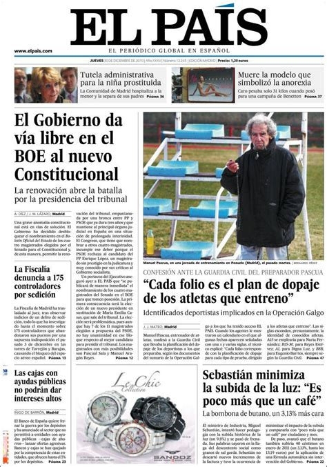Newspaper El País  Spain . Front pages from newspapers in ...