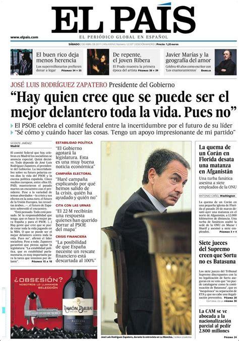 Newspaper El País  Spain . Newspapers in Spain. Saturday s ...