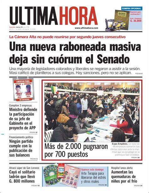 Newspaper Última Hora  Paraguay . Newspapers in Paraguay ...
