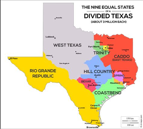Nine Equal States of a Divided Texas - Population Map [OC ...