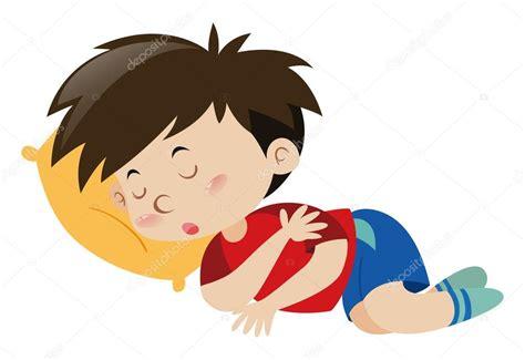 Niño durmiendo en la almohada amarilla — Vector de stock ...