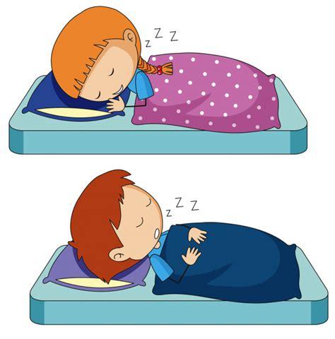 Niño y niña durmiendo en la cama   Descargar Vectores gratis