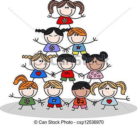Niños, trabajo en equipo, pertenencia étnica ilustración ...