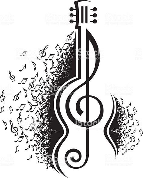 Notas Musicais E Guitarra   Arte vetorial de stock e mais ...