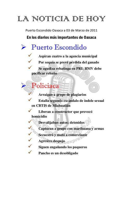 Noticia de Hoy Puerto Escondido 03 marzo 2011