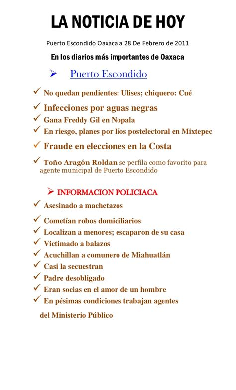 Noticia de Hoy Puerto Escondido 28 febrero 2011