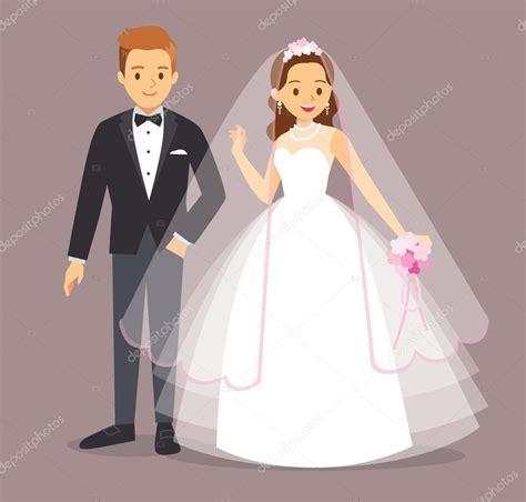 Novio y novia de dibujos animados de ilustración vectorial ...
