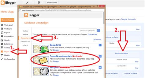 Novo Gadget Formulário de Contatos do Blogger