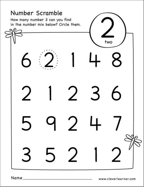 number 2 worksheets for kindergarten number scramble ...