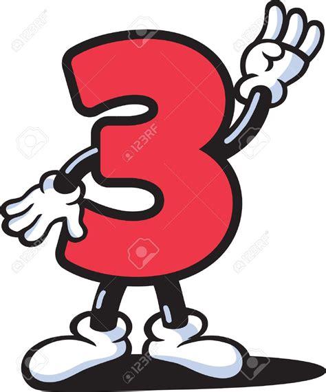 Número tres, 3. Color rojo. Personaje de dibujos animados ...
