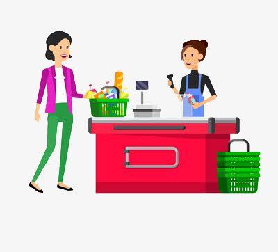 O Cliente Para O Caixa O Cliente Check Out Supermercado ...