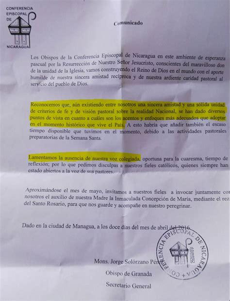 Obispos de Nicaragua piden disculpas por no publicar Carta ...