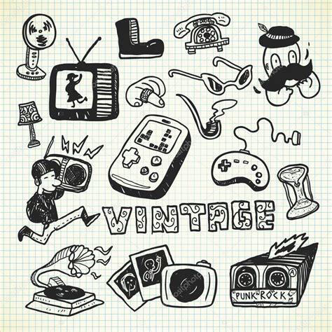 Objetos vintage en estilo doodle — Vector de stock ...