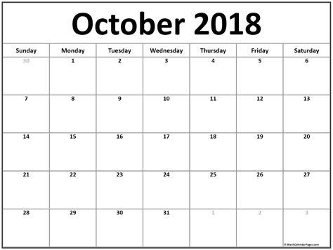 October 2018 calendar | 51+ calendar templates of 2018 ...