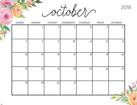 October 2018 Calendar | Latest Calendar