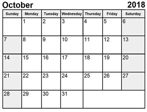 October 2018 Calendar Printable [Free] | Site Provides all ...