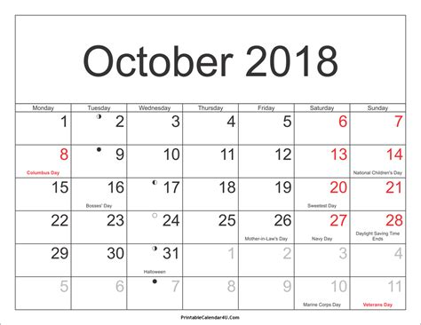 October 2018 Calendar Printable with Holidays PDF and JPG