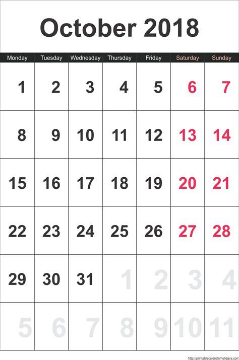 October 2018 Calendar Template | monthly calendar 2017