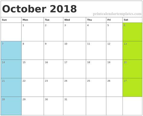 October 2018 Printable Calendar | Printable Calendar Templates