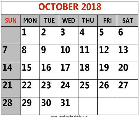 october calendar 2018 printable   Ideal.vistalist.co