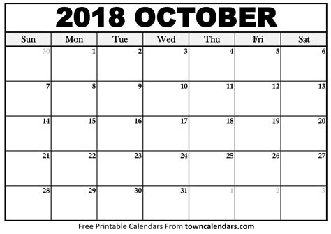 October Calendar For 2018 Release | Free Printable Blank ...