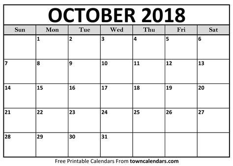 october calendar template 2018   Baskan.idai.co
