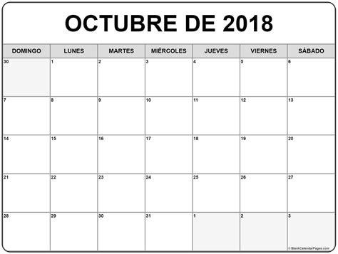 octubre de 2018 calendario gratis | Calendario de