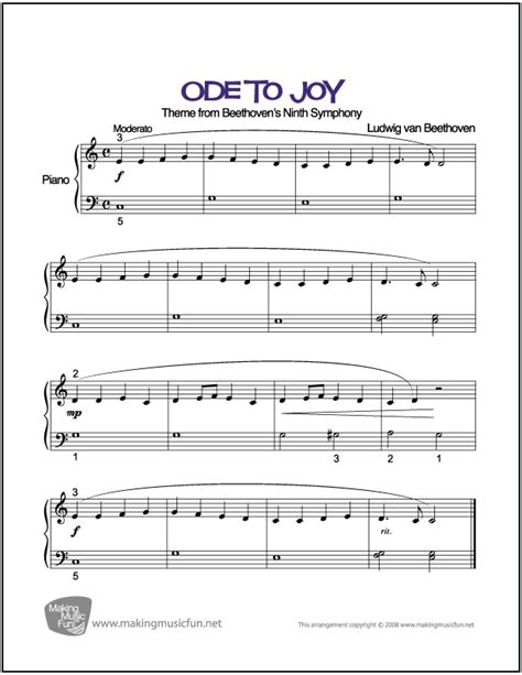 Ode to Joy  Beethoven    Beginner/Easy Piano Sheet Music ...