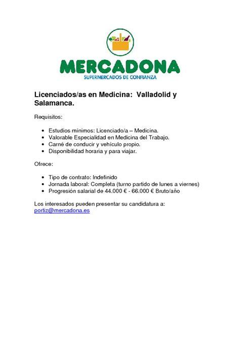 Oferta de empleo en Mercadona (Valladolid Salamanca) SCMST