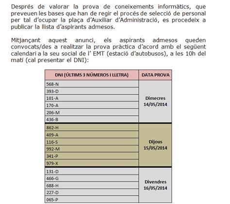 OFERTA DE TREBALL   EMT Tarragona