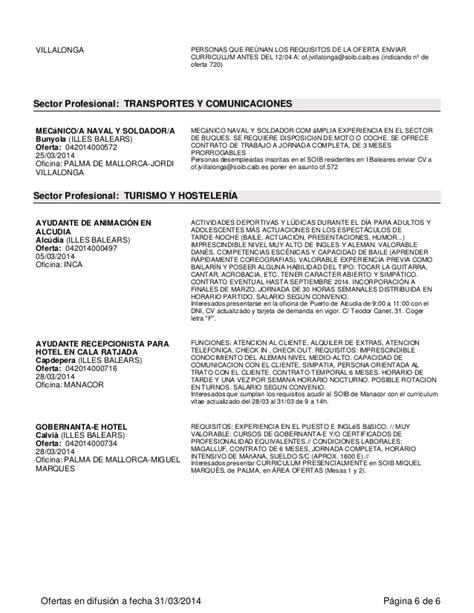OFERTAS DE EMPLEO DEL SOIB ABRIL 2014 (1)