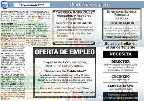 OFERTAS DE EMPLEO publicadas en el periódico El Día del ...