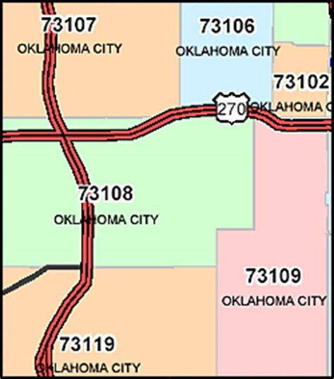 Oklahoma ZIP Code Map including County Maps