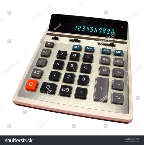 Old Calculator Green Digits Isolated Clipping Stock Photo ...