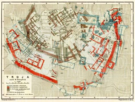 Old map of the site of ancient Troy  Troja  in 1905. Buy ...