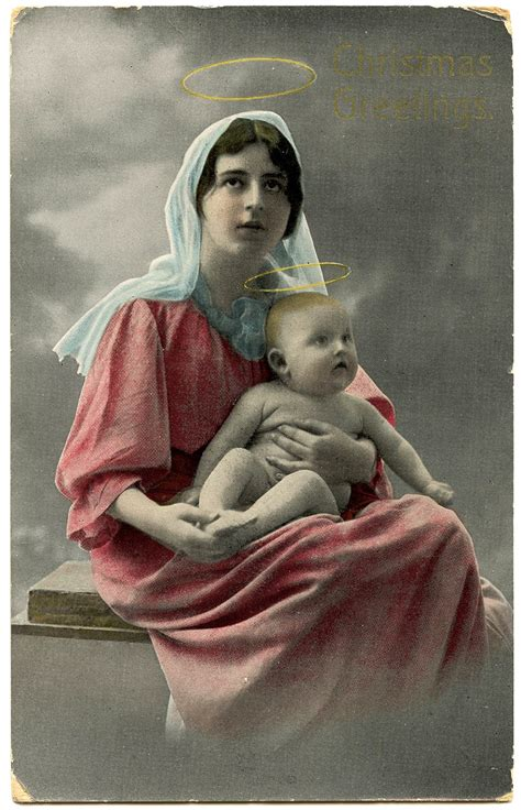 Old Photo - Beautiful Mary & Jesus with Halos - The ...