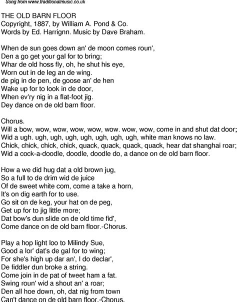 Old Time Song Lyrics for 32 The Old Barn Floor