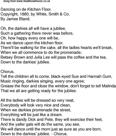 Old Time Song Lyrics for 36 Dancing On De Kitchen Floor