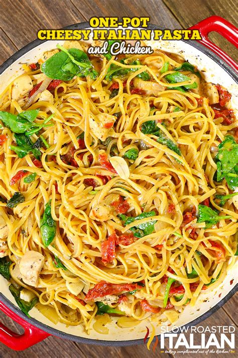 One Pot Cheesy Italian Pasta and Chicken  with VIDEO