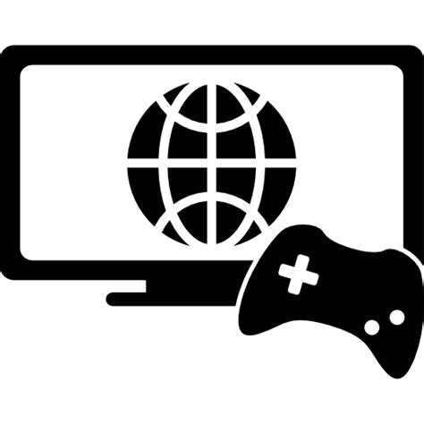 Online games symbol of a monitor and a game control - Free ...