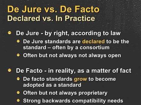 Open, De Jure, De Facto and Proprietary: Standards and ...