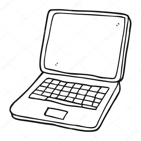 Ordenador portátil de dibujos animados blanco y negro con ...