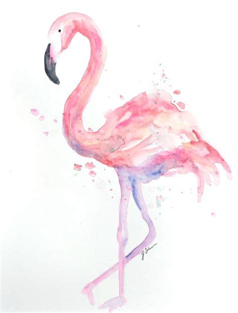 Original arte acuarela flamenco cuadro flamenco Flamingo
